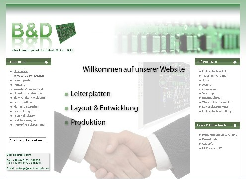 Leiterplatten - Website in Joomla - B&D electronic print Ltd. & Co. KG